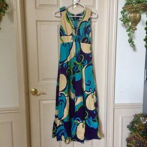 Billowing Hawaiian Lace Up Dress